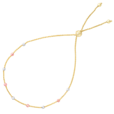 Diamond Cut Multi Color Round Bead Station Bolo Friendship Adjustable Bracelet In 14K Gold, 9.25""