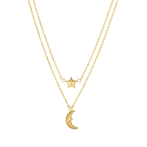 14k Yellow Gold Moon And Star On Single In to Double Graduated Strand Necklace, 18""