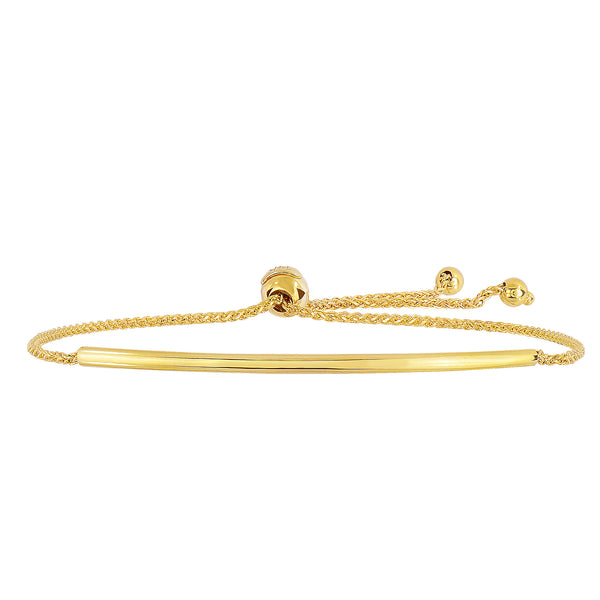 14K Yellow Gold Curve Bar Diamond Cut Wheat Chain Adjustable Bracelet With Adjustable Ball Clasp, 9.25""