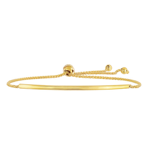 14K Yellow Gold Curve Bar Diamond Cut Wheat Chain Bracelet With Adjustable Ball Clasp, 9.25""