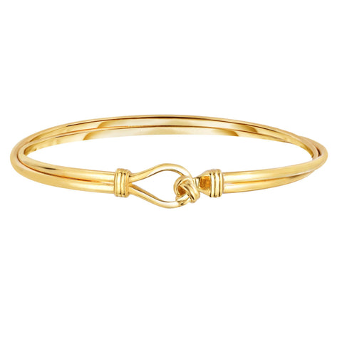 14k Yellow Gold Polished Loveknot Oval Fancy Bangle Bracelet, 7.5""