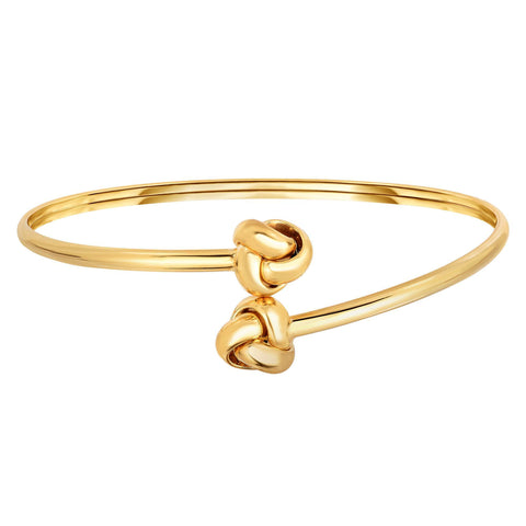 14k Yellow Gold Shiny Double Love Knot Tip Fancy Bypass Fancy Bangle, 7.25""