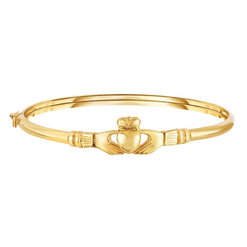 14k Yellow Gold Polished Oval Shape Fancy Claddagh Bangle Bracelet, 7.5""