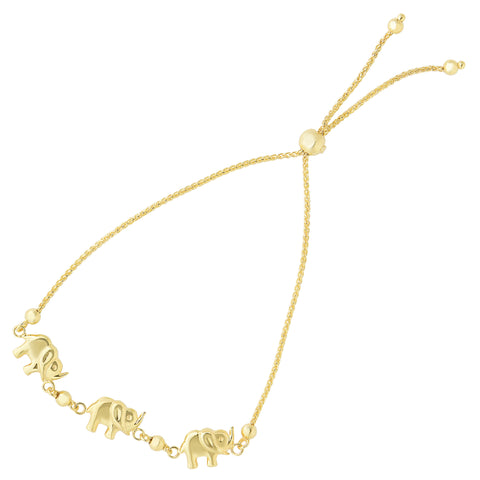 Elephant Charms Theme Bolo Friendship Adjustable Bracelet In 14K Yellow Gold, 9.25""