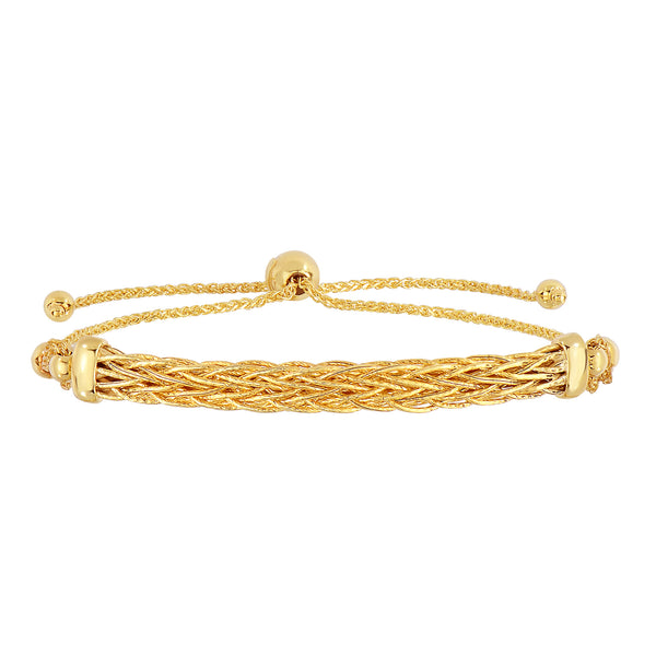 14K Yellow Gold Diamond Cut Round Wheat Adjustable Bracelet With Arched Weave Center Element, 9.25""