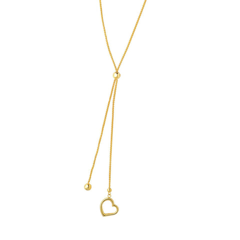 14k Yellow Gold Open Heart Charm Necklace, 24""