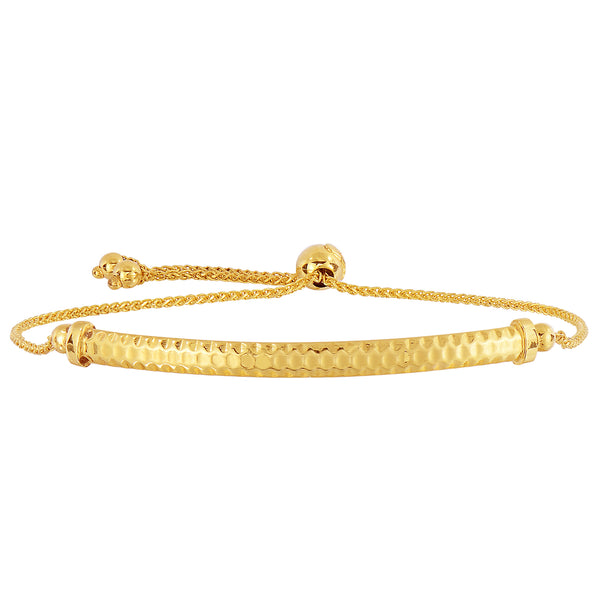 14K Yellow Gold Diamond Cut Round Wheat Adjustable Bracelet With Diamond Cut Arched Bar, 9.25""