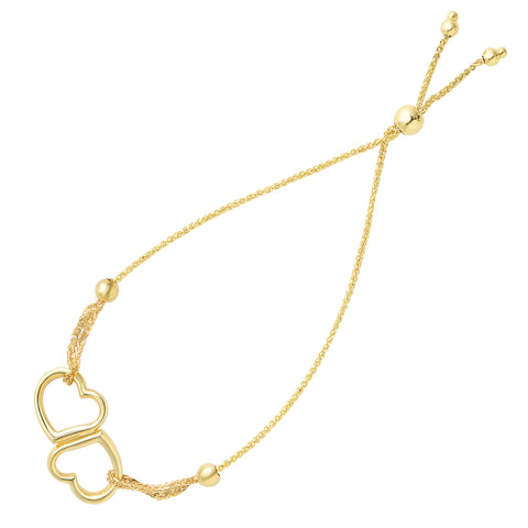 Double Open Heart Center Element Bolo Friendship Bracelet In 14K Yellow Gold, 9.25""