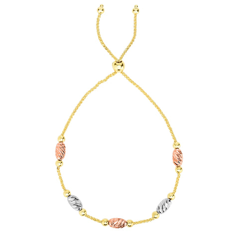 Tricolor Diamond Cut Oval Bead Stations Bolo Friendship Adjustable Bracelet In 14K Gold, 9.25""