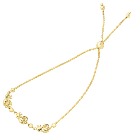 Bumble Bee Charms Theme Bolo Friendship Adjustable Bracelet In 14K Yellow Gold, 9.25""