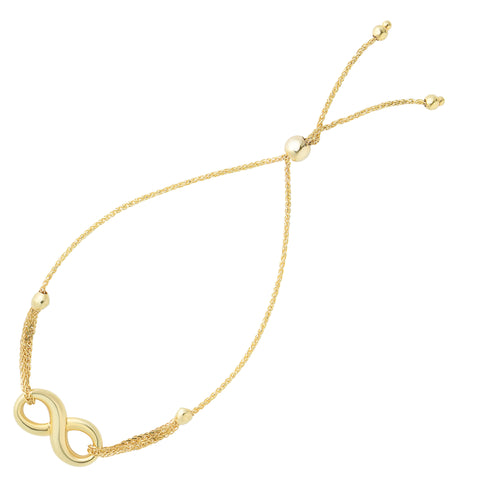 Infinity Theme Bolo Friendship Adjustable Bracelet In 14K Yellow Gold, 9.25""