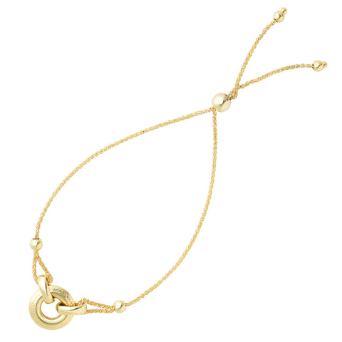 Ring Anchored To Loop Center Bolo Friendship Bracelet In 14K Yellow Gold, 9.25""