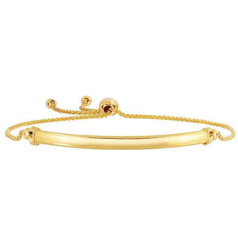 14K Yellow Gold Diamond Cut Round Wheat Adjustable Bracelet With Shiny Curved Bar Element, 9.25""