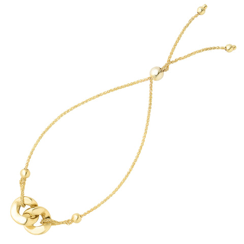Interlocked Double Ring Center Bolo Friendship Adjustable Bracelet In 14K Yellow Gold, 9.25""