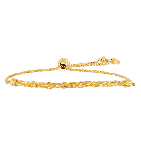 14K Yellow Gold Diamond Cut Round Wheat Adjustable Bracelet With Weave Type Arched Center Element, 9.25""