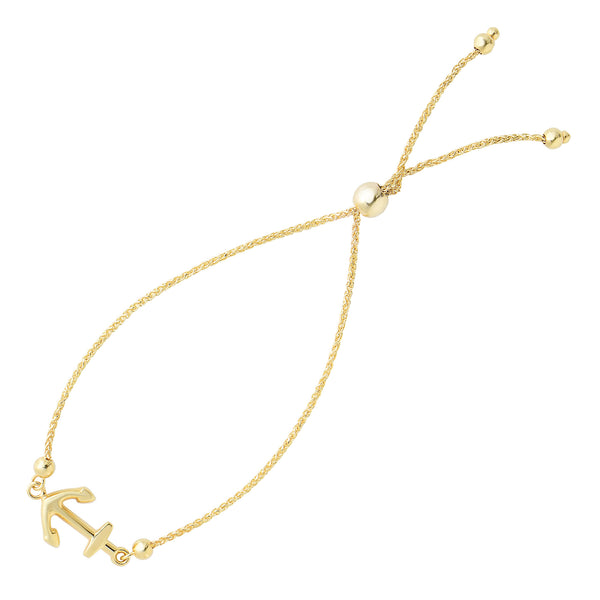 Shiny Sideways Anchor Center Bolo Friendship Adjustable Bracelet In 14K Yellow Gold, 9.25""