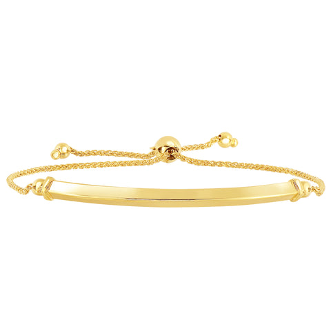14K Yellow Gold Diamond Cut Round Wheat Bracelet With Shiny Arched Bar Center Element, 9.25""