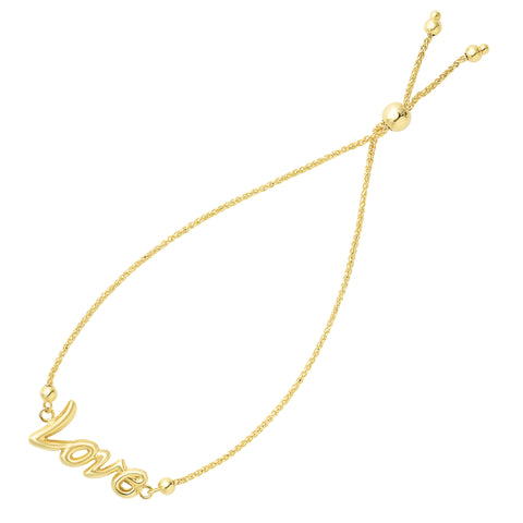Love In Script Theme Bolo Friendship Adjustable Bracelet In 14K Yellow Gold, 9.25""