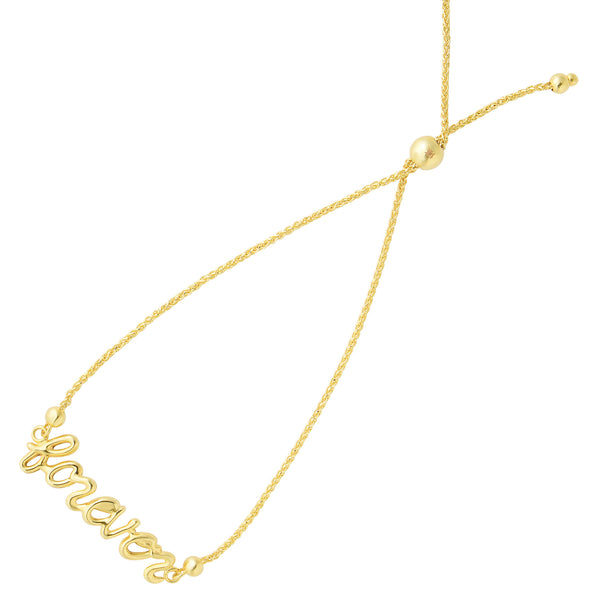 Forever In Script Element Bolo Friendship Adjustable Bracelet In 14K Yellow Gold, 9.25""