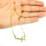 Sideways Crosses Theme Bolo Friendship Adjustable Bracelet In 14K Yellow Gold, 9.25""
