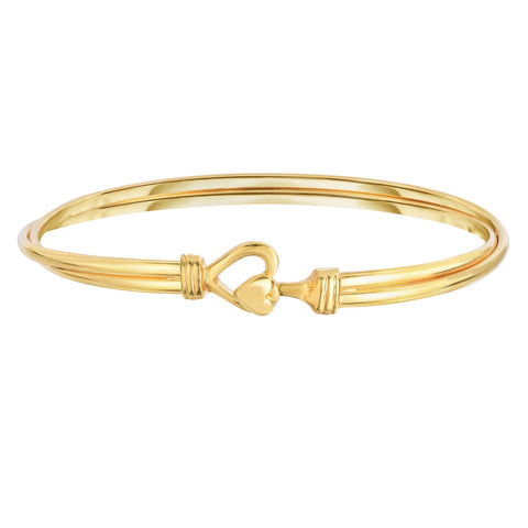 14k Yellow Polished Gold With Center Heart Bangle Bracelet, 7.5""