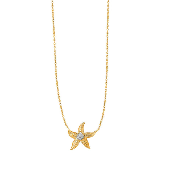 14K Yellow And White Gold Starfish Sea Life Chain Necklace, 18""