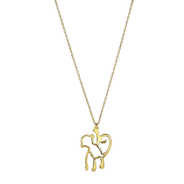 14k Yellow Gold Hanging Monkey Charm Chain Necklace, 18""