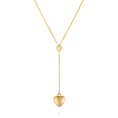 14k Yellow Gold Hanging Heart Necklace, 18""