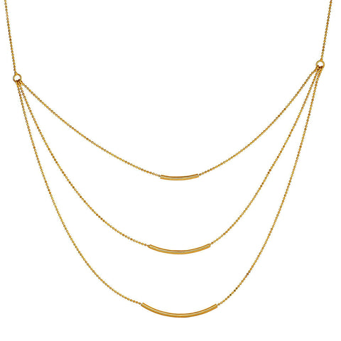 14k Yellow Gold Triple Bar Necklace, 18""
