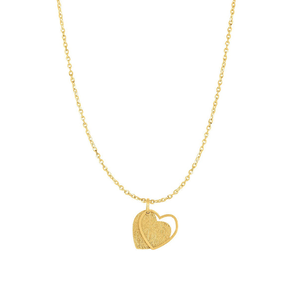 14k Yellow Gold Heart Pendant Necklace, 18""