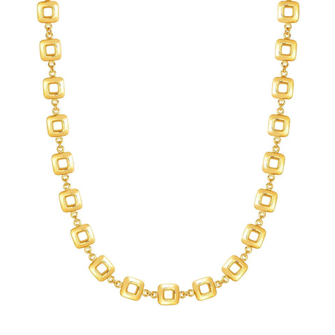 14k Yellow Gold Square Link Women's Necklace, 17""