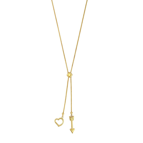 14k Yellow Gold Heart And Arrow Charm Long Necklace, 28""