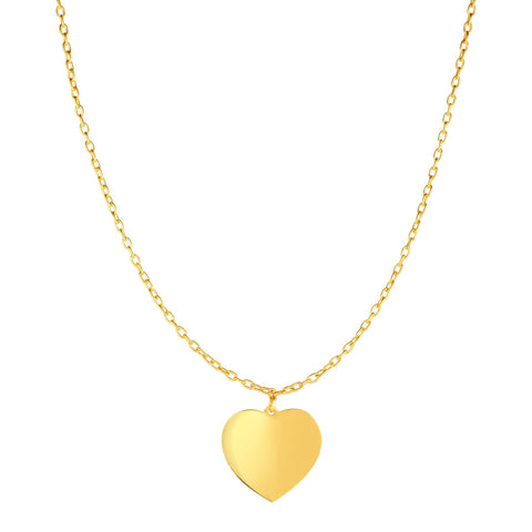 14k Yellow Gold High Polished Heart Necklace,16""