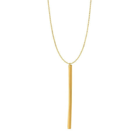 14k Yellow Gold Hanging Bar Necklace, 24""