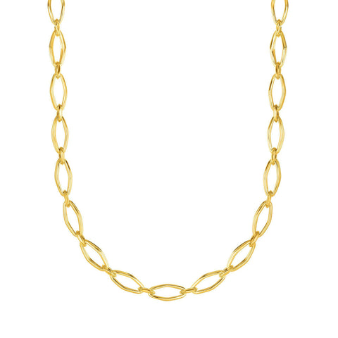 14k Yellow Gold Marquise Link Womens Necklace, 18""