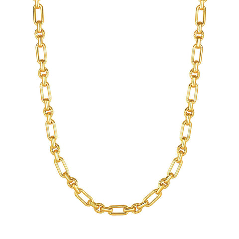 14k Yellow Gold Diamond Cut Oval Link Chain Womens Necklace, 18""