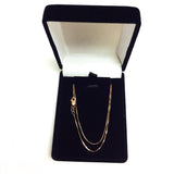 14k Rose Solid Gold Mirror Box Chain Necklace, 0.6mm