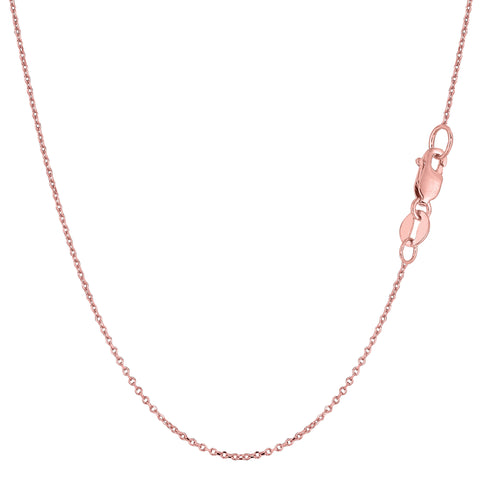 18k Rose Gold Cable Link Chain Necklace, 1.5mm