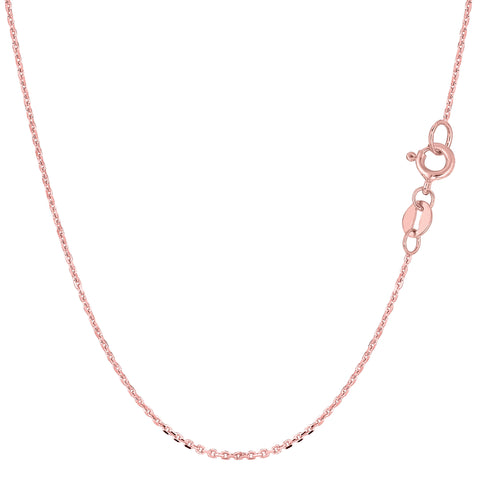 14k Rose Gold Cable Link Chain Necklace, 1.1mm