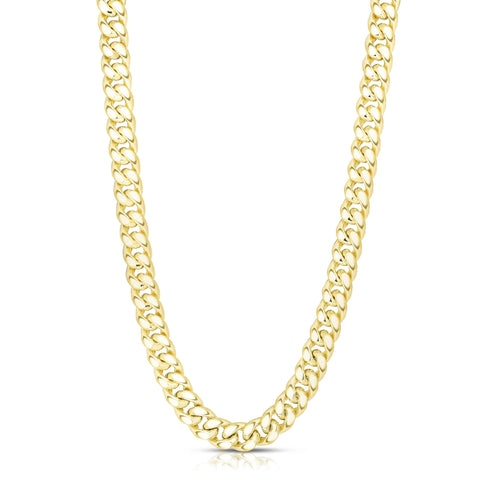 14k Yellow Gold Miami Cuban Link Chain Semi Hollow Necklace, 7mm