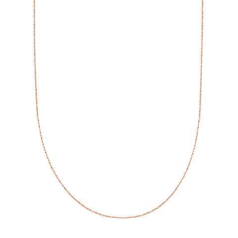 14k Rose Gold Rope Chain Necklace, 0.5mm
