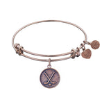 Stipple Finish Brass Hockey Angelica Bangle Bracelet, 7.25""