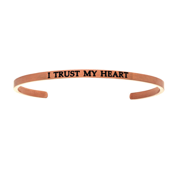Intuitions Stainless Steel I TRUST MY HEART Diamond Accent Cuff Bangle Bracelet