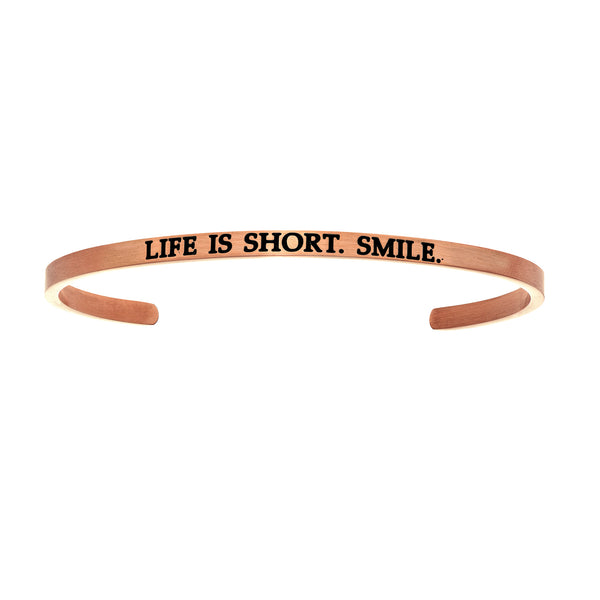 Intuitions Stainless Steel LIFE IS SHORT.SMILE. Diamond Accent Cuff Bangle Bracelet