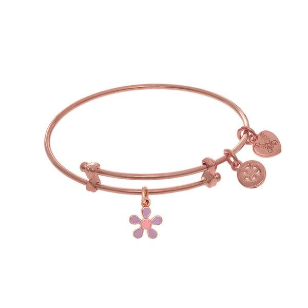 Purple Enamel Flower Charm Adjustable Bangle Girls Bracelet