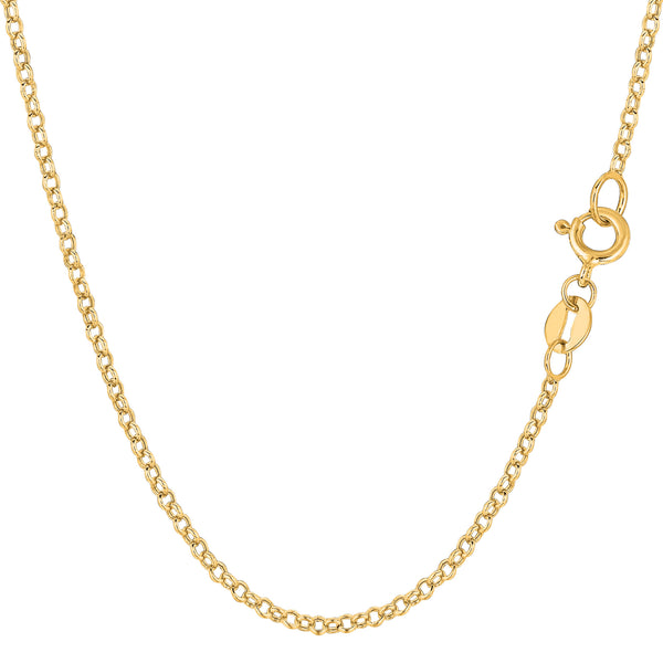 14k Yellow Gold Round Rolo Link Chain Necklace, 1.85mm