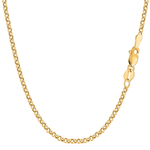 14k Yellow Gold Round Rolo Link Chain Bracelet, 2.3mm, 7""