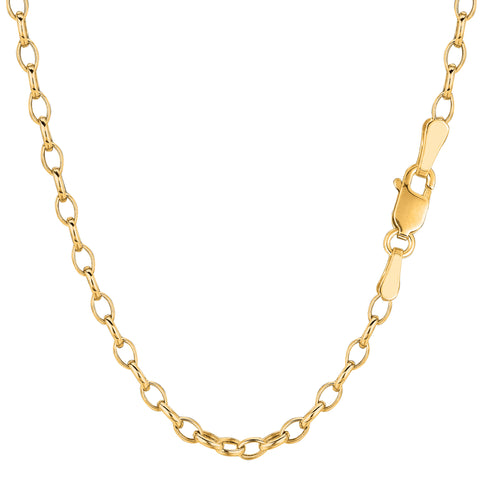 14k Yellow Gold Oval Rolo Link Chain Bracelet, 3.2mm, 7""