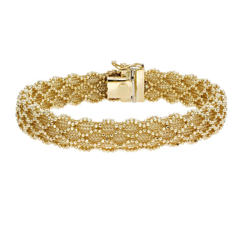 14k Yellow Gold And Diamond Cut Bead Bracelet, 7.5""