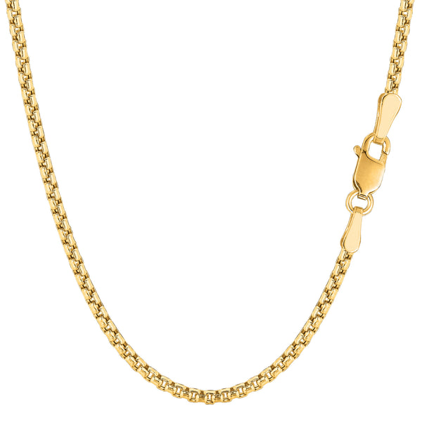 14k Yellow Gold Round Box Chain Necklace, 2.1mm - JewelryAffairs  - 1